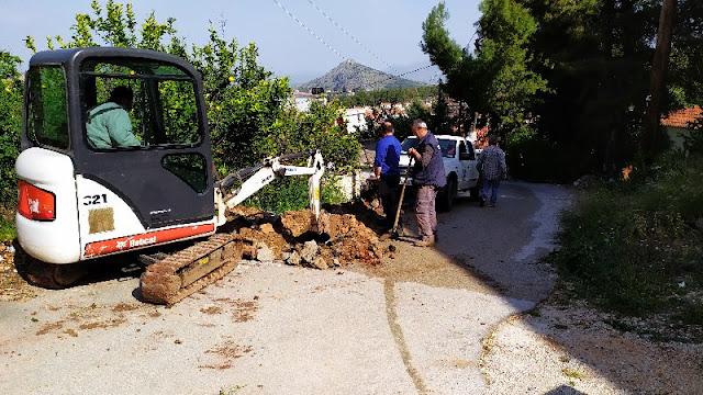 Αποκατάσταση βλάβης αγωγού ύδρευσης στην Άρια Ναυπλίου