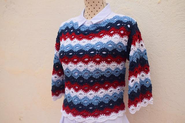 3 - Crochet Imagenes Jersey marinero con 4 rectangulos a crochet y ganchillo por Majovel crochet