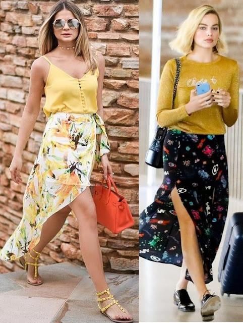 Guia Como usar saia com fenda, Thássia Naves, Margot Robbie