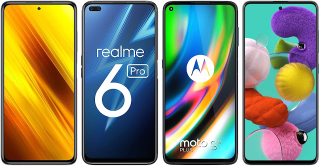 Xiaomi POCO X3 NFC 128 GB vs Realme 6 Pro (6 GB RAM) vs Motorola Moto G9 Plus vs Samsung Galaxy A51