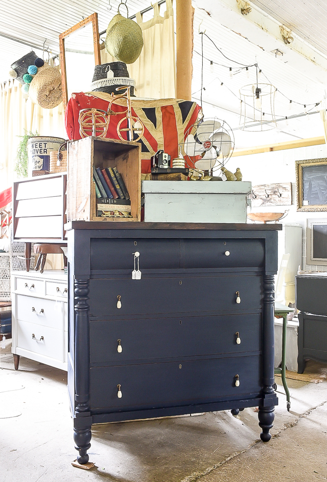 Coastal blue painted vintage empire dresser