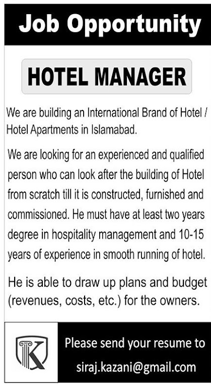 Today Pvt International hotel jobs brand 2021