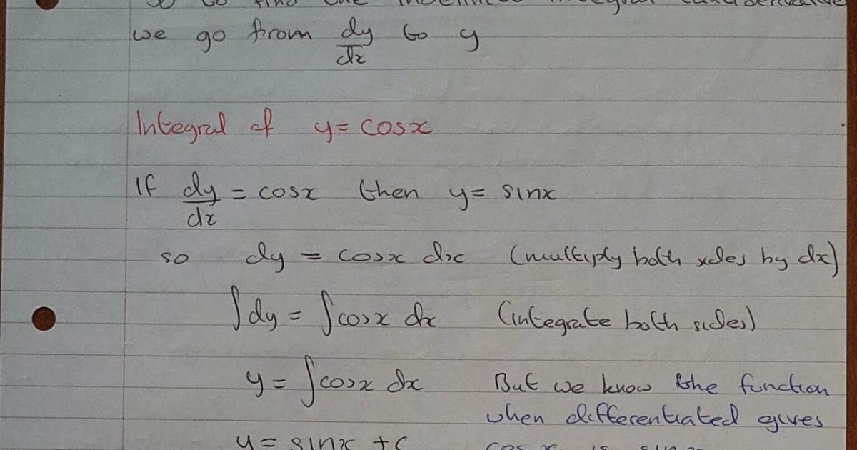 A Level Maths Notes: A2 Integration II: Trigonometric