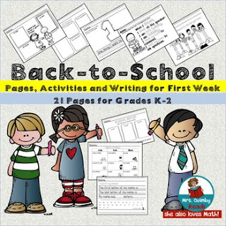 first week of school, primary grades, beginning writers, MrsQuimbyReads