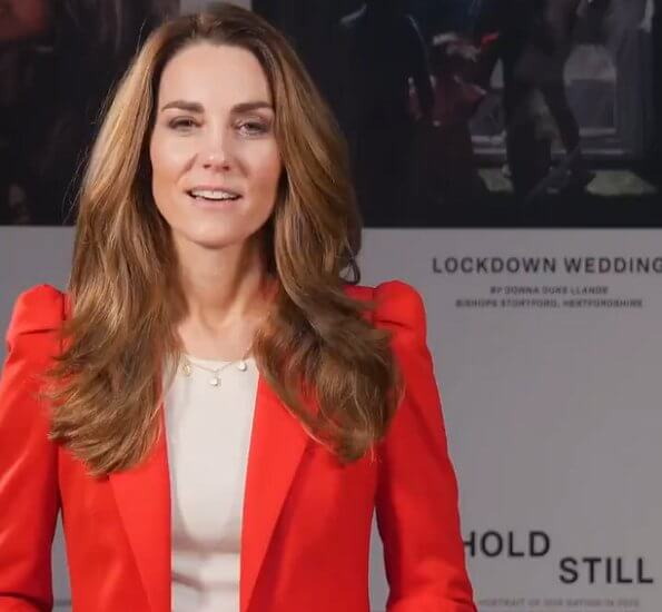 Kate Middleton wore a red gathered shoulders blazer by Zara, and a new frosted blue cardigan by Boden. Boden Abercorn scallop cardigan