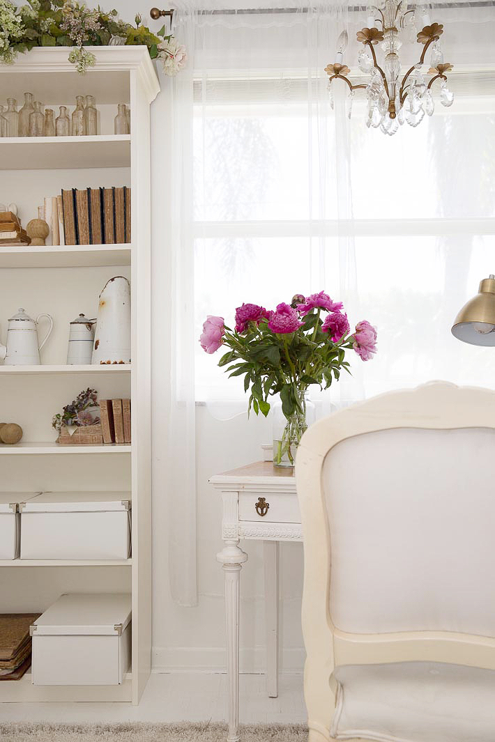 French chair and writing desk in white
