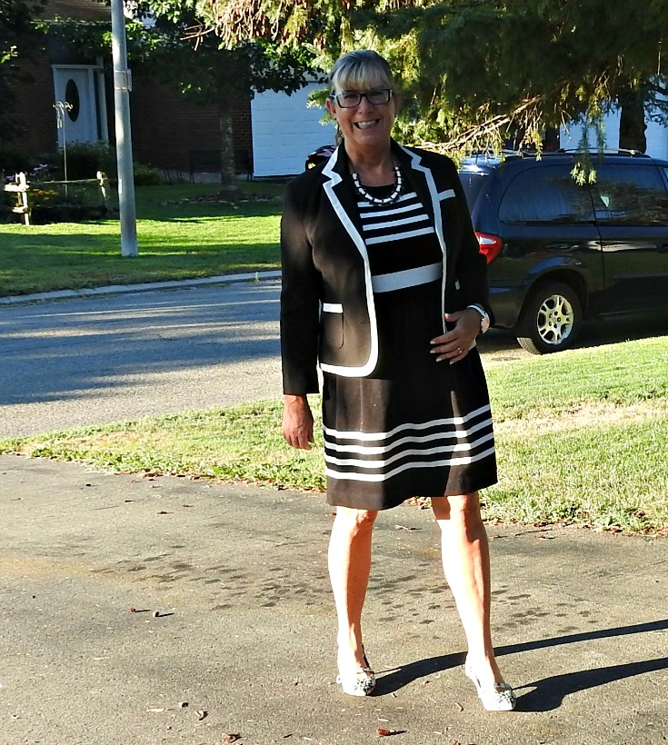J Crew Black and white classic dress with a Pure piped blazer and shoe dazzle paisley pumps
