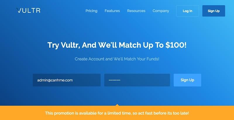 Vultr khuyến mãi nhân đôi số tiền nạp vào tài khoản, tới 100$
