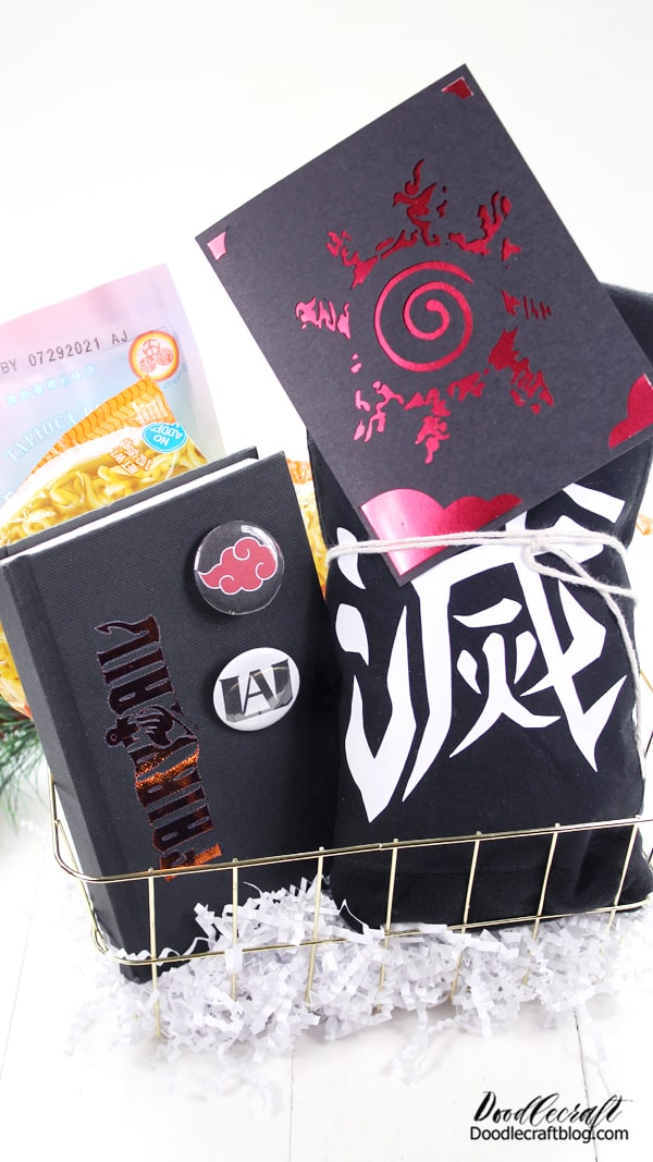 Anime or Japanese Animation is all the rage! Netflix has tons of Anime shows--have you watched any? I bet you at least know someone who has. My kids love anime, my daughter especially. In fact, it's inspired her to write her own Manga.   This gift basket is easy to put together and is the perfect handmade gift for a fan of Anime. Handmade gifts or customized elements make the best gifts. Cricut is the best way to customize everything--let's get started!