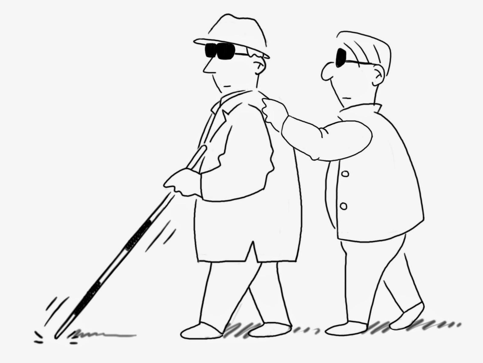 Blind leading the blind, having eyesight problems and