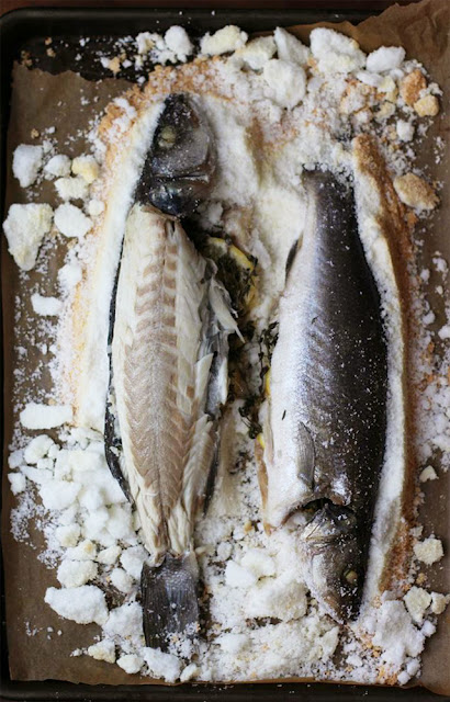 branzino al sale, baked in a salt crust