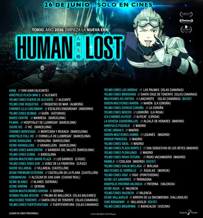 Lista de cines para el estreno de Human Lost (Selecta Visión)