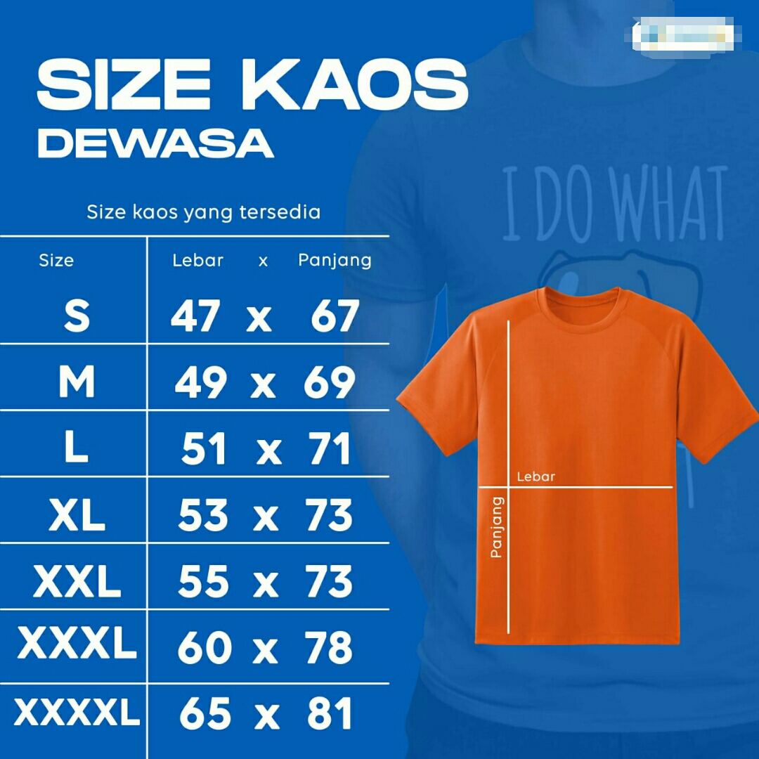 Size Kaos Lengan Pendek
