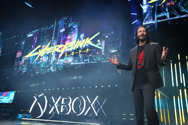 Keanu Reeves, Cyberpunk 2077 Actor, unveils the release date at the Xbox E3 2019 Briefing at the Microsoft Theater at L.A. Live, Sunday, June 9, 2019 in Los Angeles.