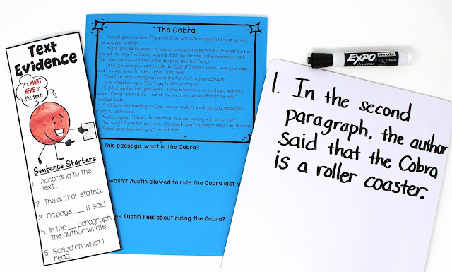 Free Text Evidence Passages! Teach students to support their answers by citing text evidence.This blog post includes free printables so that you can replicate the entire lesson with your upper elementary students.
