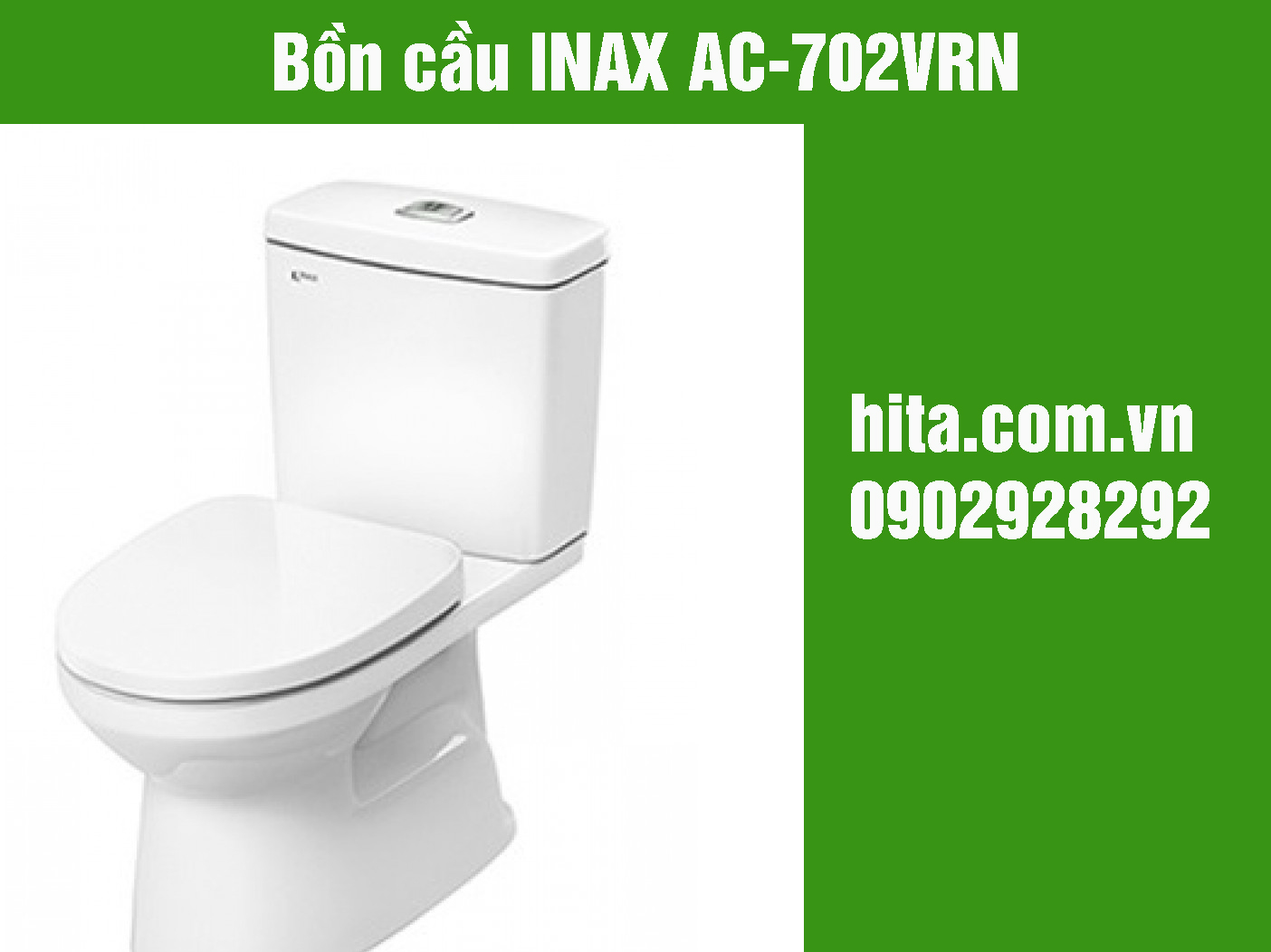 Giá và kích thước bồn cầu INAX AC-702VRN năm 2018