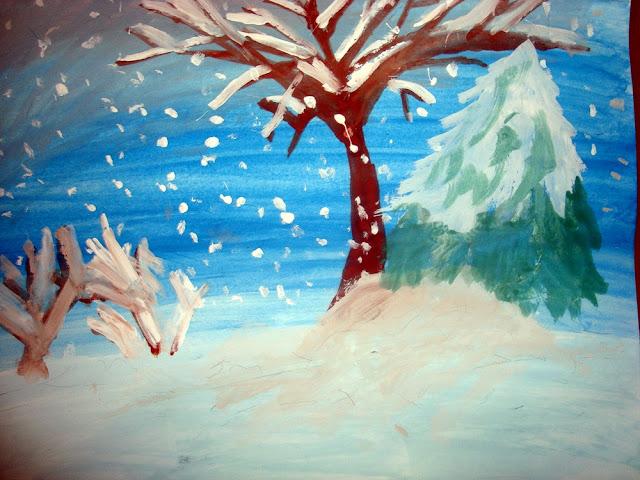 Peisaj  de iarnă-acuarelă