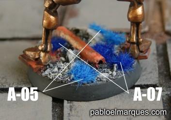 Peana con césped azul. ref: A-05 y A-07