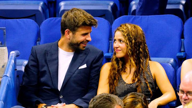 Barcelona and Spain international Gerard Pigue and Music star Shakira pictured together