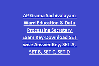 AP Grama Sachivalayam Ward Education & Data Processing Secretary Exam Key-Download SET wise Answer Key, SET A, SET B, SET C, SET D