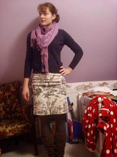 Casual pencil skirt outfit, boots, scarf ll Young Yankee Lady