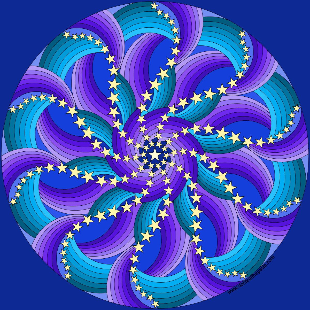 Dont Eat The Paste Stars And Curves Mandala To Color