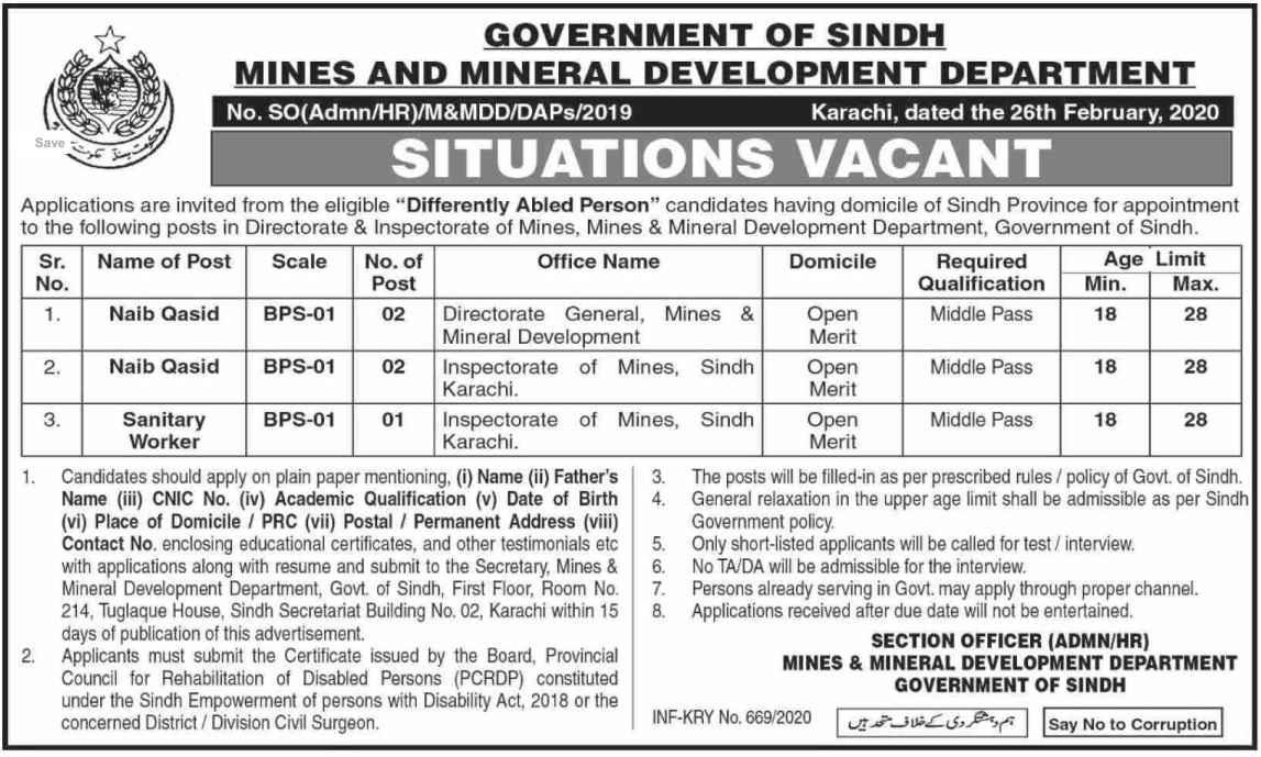 Mines & Mineral Development Department M&MDD Jobs 2020