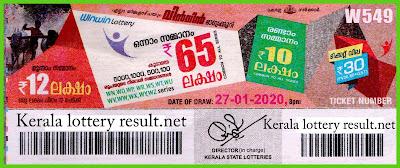 Kerala Lottery Result 27-01-2020 Win Win W-549 (keralalotteryresult.net)