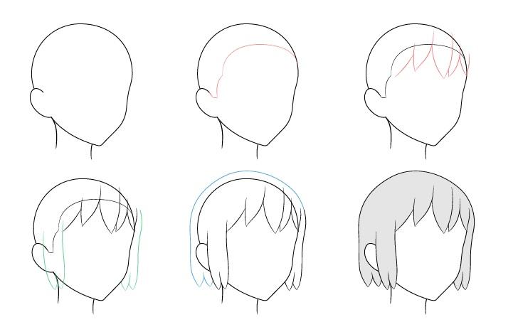 Rambut anime 3/4 tampilan menggambar langkah demi langkah