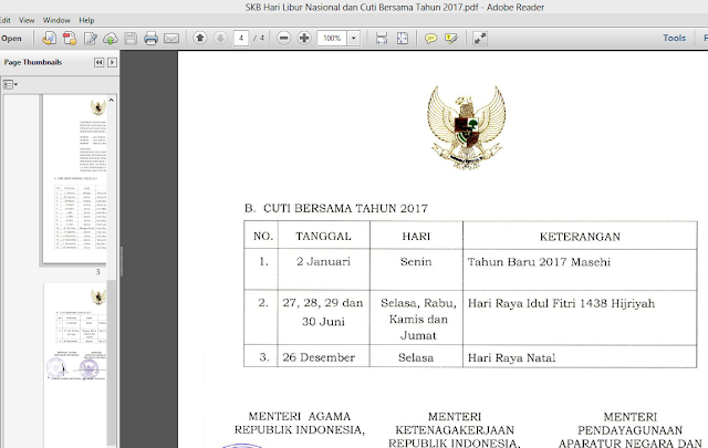 Hari Libur Nasional Dan Cuti Bersama Kalender Tahun 2017 SKB Tiga Menteri