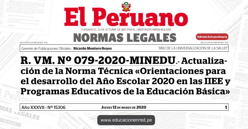 R. VM. Nº 079-2020-MINEDU.- Actualización de la Norma Técnica «Orientaciones para el desarrollo del Año Escolar 2020 en las IIEE y Programas Educativos de la Educación Básica»