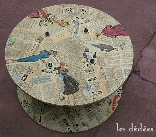 les dedees vintage recup creations table bobine de chantier mode 50 39 s by les d d es. Black Bedroom Furniture Sets. Home Design Ideas