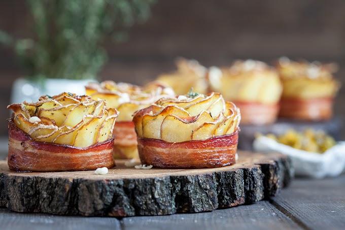 Baconös, sült krumplirózsa: ropogós és nagyon finom