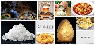 Çankırı'nın meşhur şeylerini gösteren resimlerden oluşan kolaj