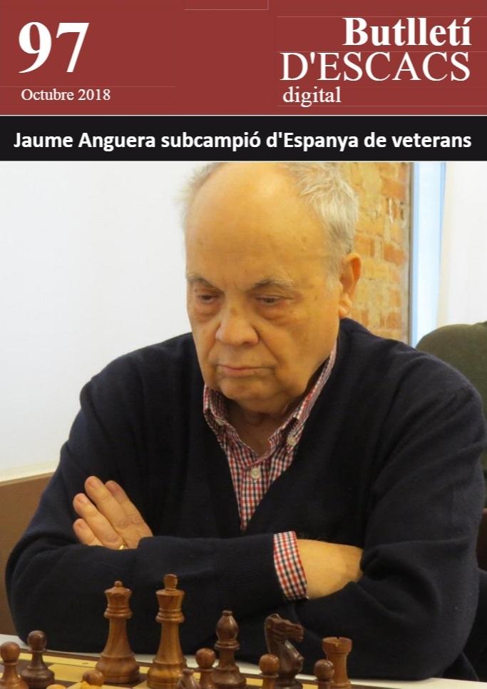 Jaume Anguera Maestro en la portada del Butllletí d'Escacs, octubre de 2018