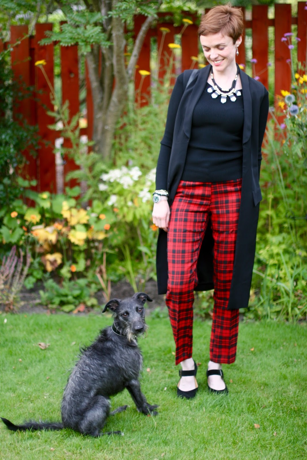 Black and Red tartan with a statement necklace.