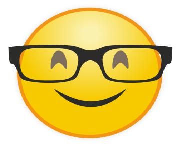 Emoticon WhatsApp Senyum Berkacamata