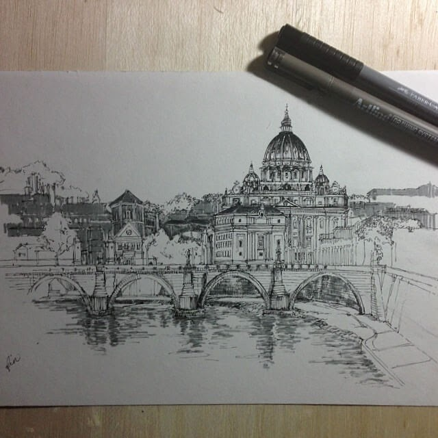 07-Rome-HAO-Sketches-Fineliners-Urban-Architectural-www-designstack-co