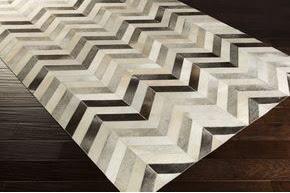 Surya chevron patch cowhide rug