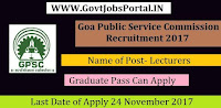 Goa Public Service Commission Recruitment 2017– Lecturers