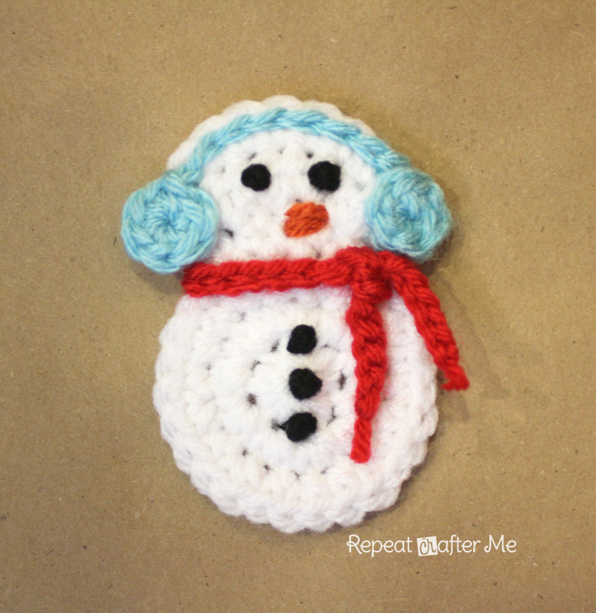 Crochet Snowman Applique Pattern Repeat Crafter Me