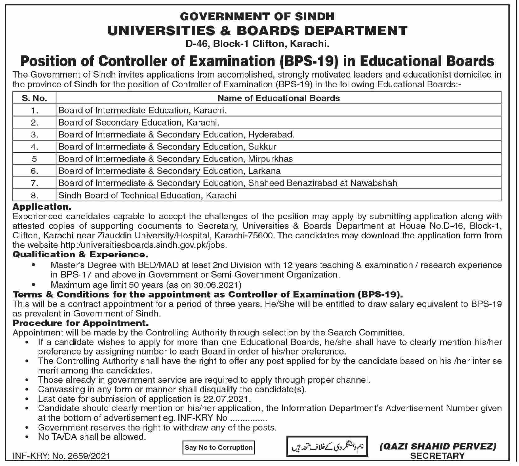 Universities & Boards Department Sindh Jobs 2021 in Pakistan