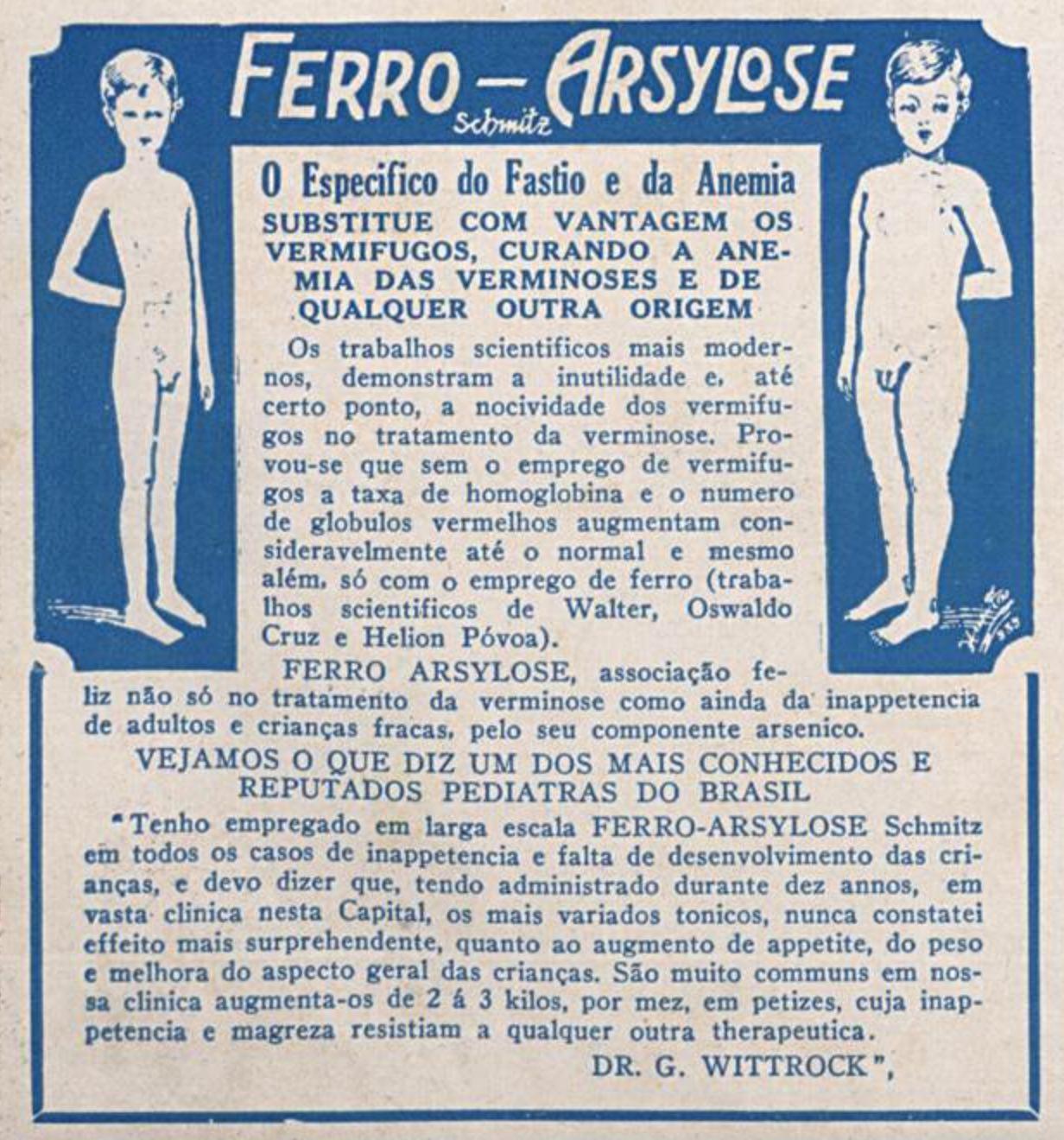 Anúncio de vermífugo para crianças veiculado em 1937