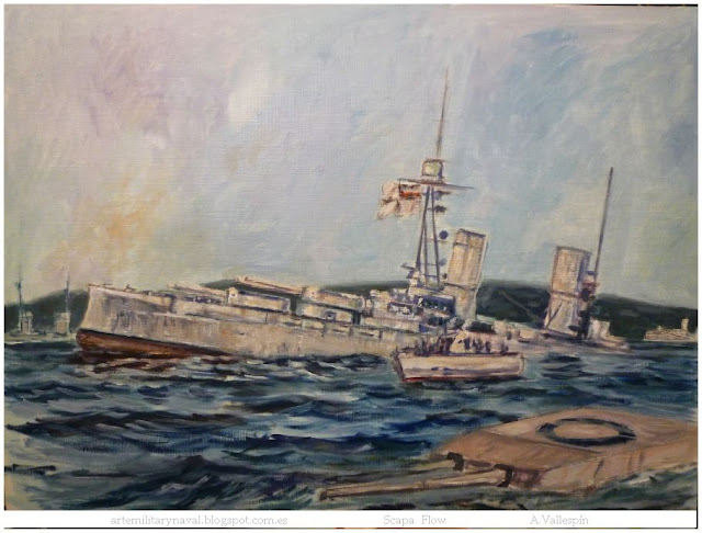 Boceto al óleo de un acorazado de la Kaiserliche Marine hundiendose en Scapa Flow