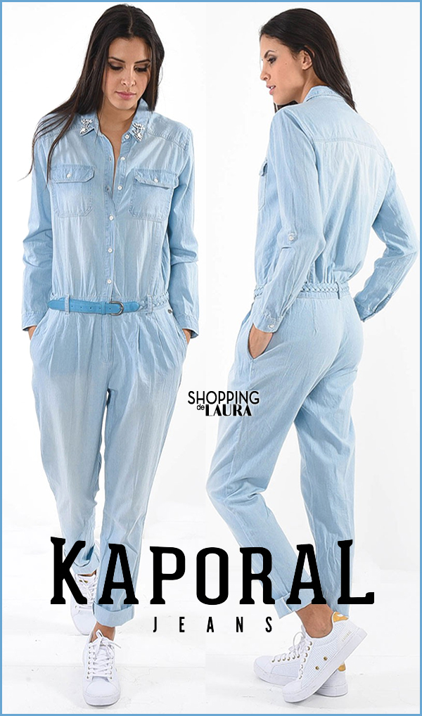 Combinaison pantalon femme en jean bleu clair KAPORAL