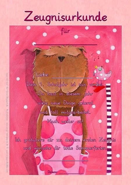 Zeugnisurkunde für Mädchen erstes Schuljahr Frau Bär Sonja Mengkowski