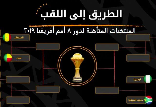 المنتخبات المتأهلة لدور 8 أمم أفريقيا 2019 نهاية مواجهات مباريات دور 16