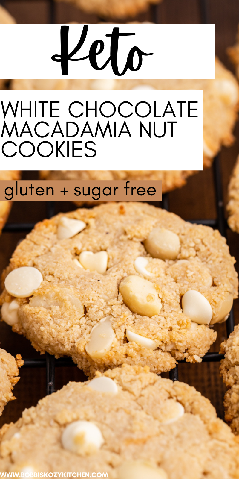 Keto White Chocolate Macadamia Nut Cookies - These Keto White Chocolate Macadamia Nut Cookies are crispy on the edges with the perfect amount of chocolate and nuts and only 2 net carbs per cookie! #keto #lowcarb #glutenfree #sugarfree #white #chocolate #Macadamia #cookies #recipe
