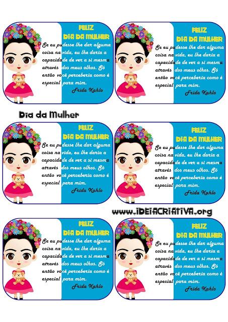 Cartão para o Dia da Mulher com Frase de Frida Kahlo