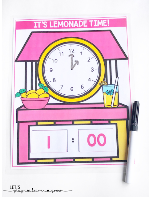 Lemonade Themed Telling Time Activity